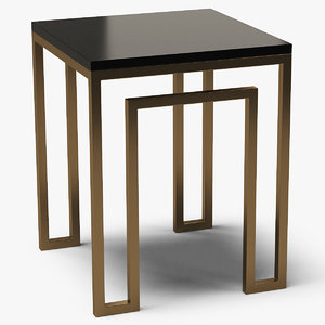 3D square end table metal