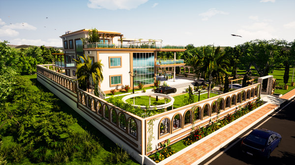 villa landscaping garden model