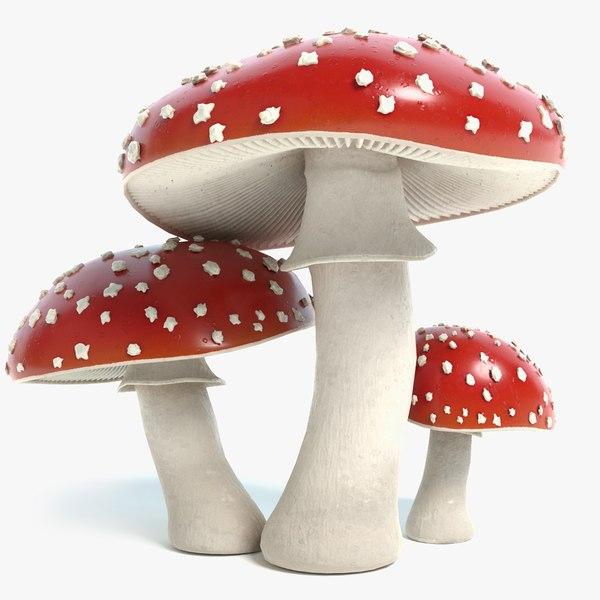 3d amanita mushrooms