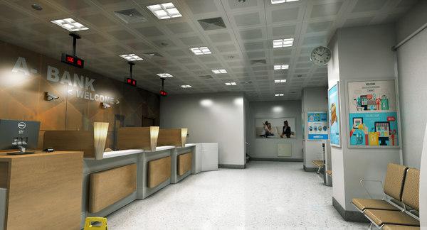 3D model realistic bank room interior
