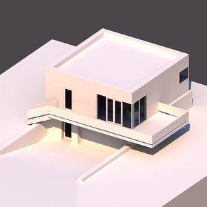 3D model 2 story modern house