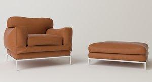 3D model armchair puff