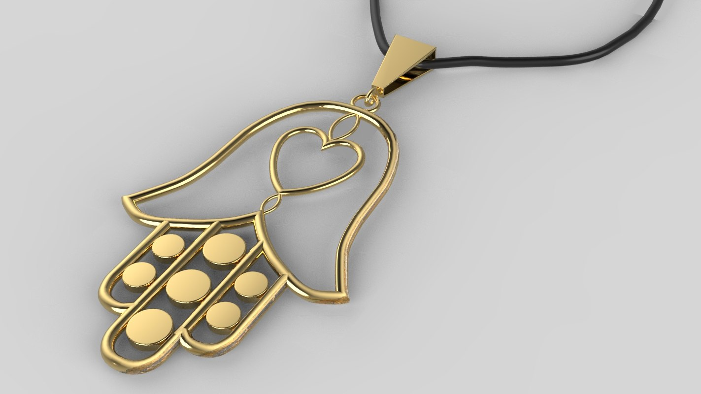 3D moroccan necklace khmisa print