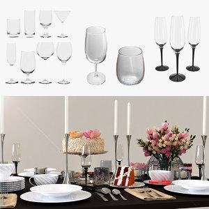 3D cocktail glasses 2 model