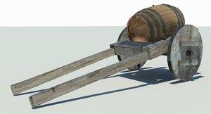 3D model wine merchants cart medieval