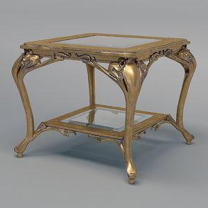 3D medea square table wood model
