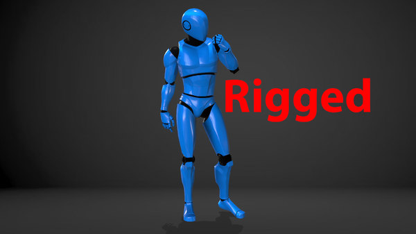 male robot rigged 3D
