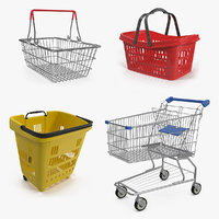 Shopping Baskets and Trolley 3D Models Collection