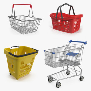 3D shopping baskets trolley roll
