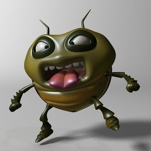 3D cartoon bug rigged model
