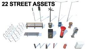 3D street assets pack sets
