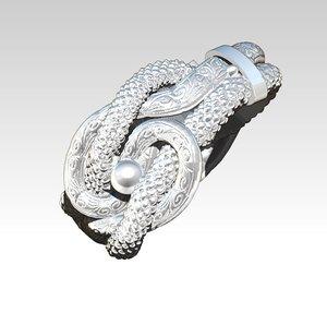 3D love knot ring model