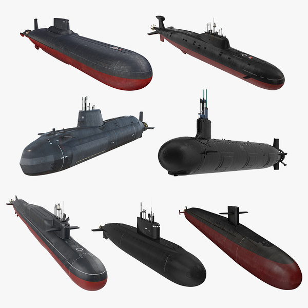 3D military submarines 2 vessels