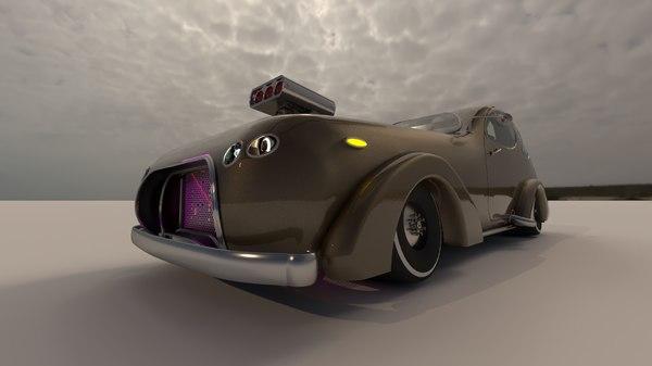 3D retro classic car
