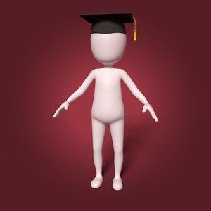 cartoon student 3D model