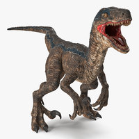 velociraptor attacking pose 3D model
