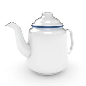 3D model tea teapot enamel