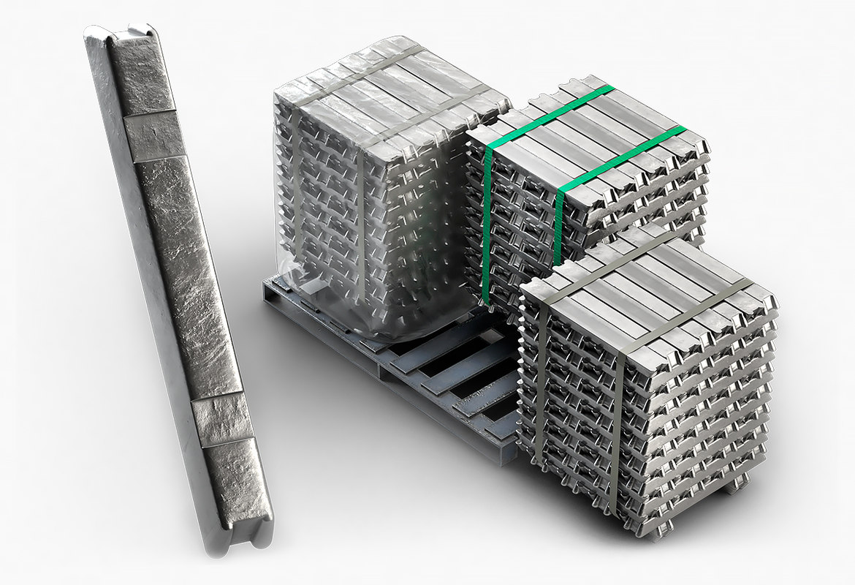 3D ingots aluminium zinc nickel model