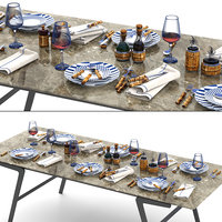 Lorenzi Milano Bamboo Dining Tableware set 3d