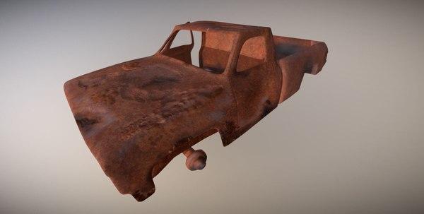 3D scrap rusted car