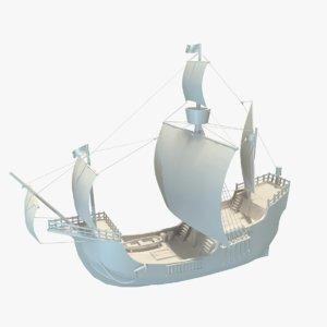 3D ship santa maria columbus