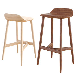 bar counter stools crosshatch 3D model