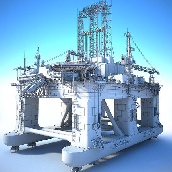 3D oil rig semi-submersible white model