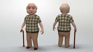 3D cartoon grandpa