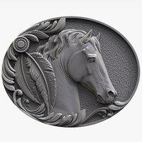 3D horse bas relief model