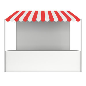 3D market stand kiosk stall