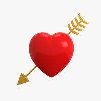 3D cartoon heart arrow model