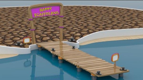 3D cartoon sea scaffold