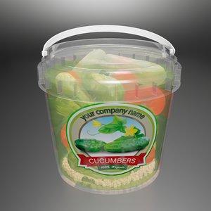 3D jar pickled cucumbers