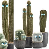 3D cactus eyes pot plants model