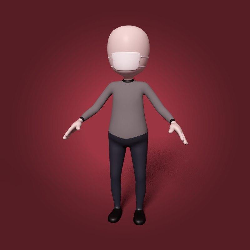cartoon patient 3D model