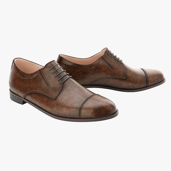 men s brown shoes 3D model