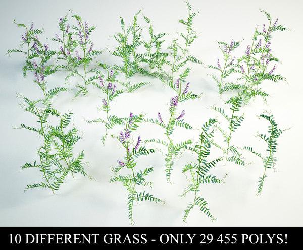3D tufted vetch grass