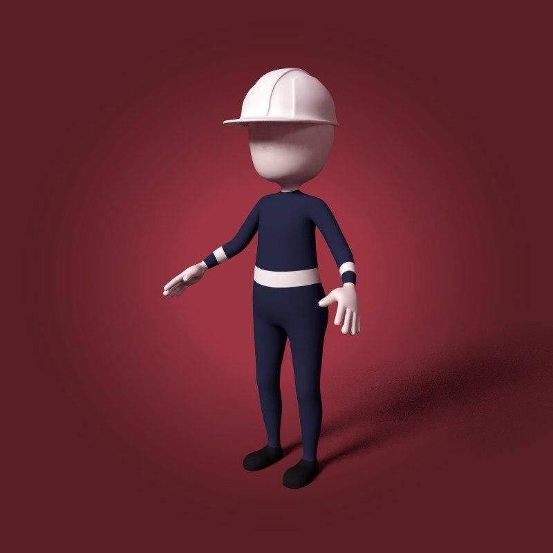 cartoon mechanic 3D model
