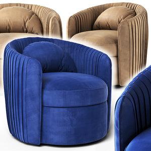 3D fantasia indigo swivel armchair model