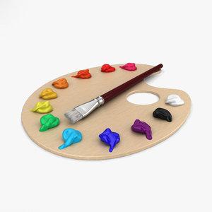 paint palette 3D model