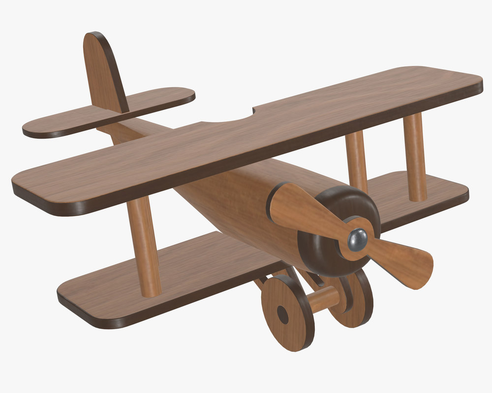 3D model airplane plane wood