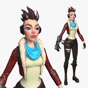 3D punk girl character
