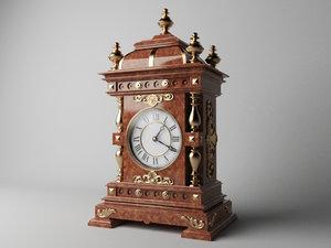 3D antique old watch clock model