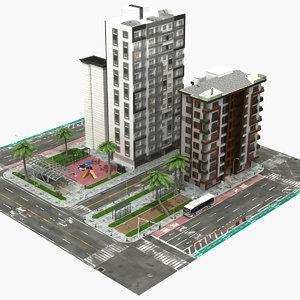 3D city block -