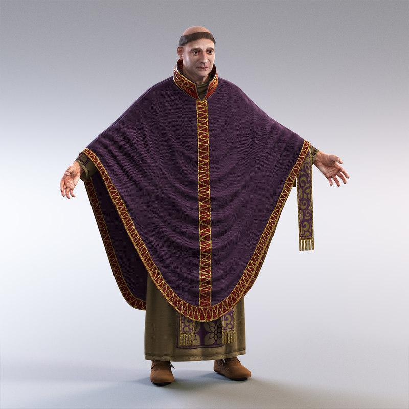 3D model medieval priest