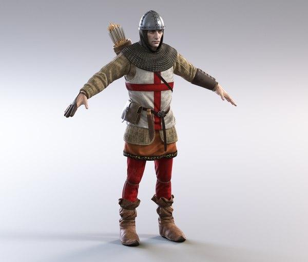 3D medieval english archer model