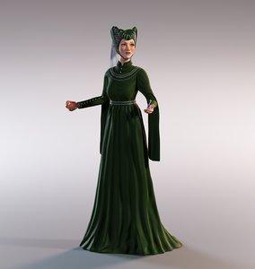 3D model medieval lady