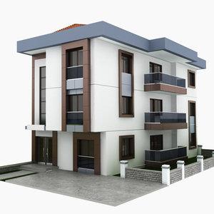 3D building housing apartment model