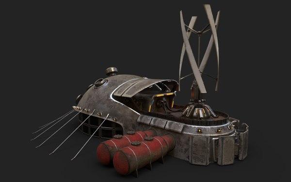 sci-fi building 1901 electric generator 3D model