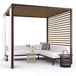 3D gazebo furniture garden arbor model